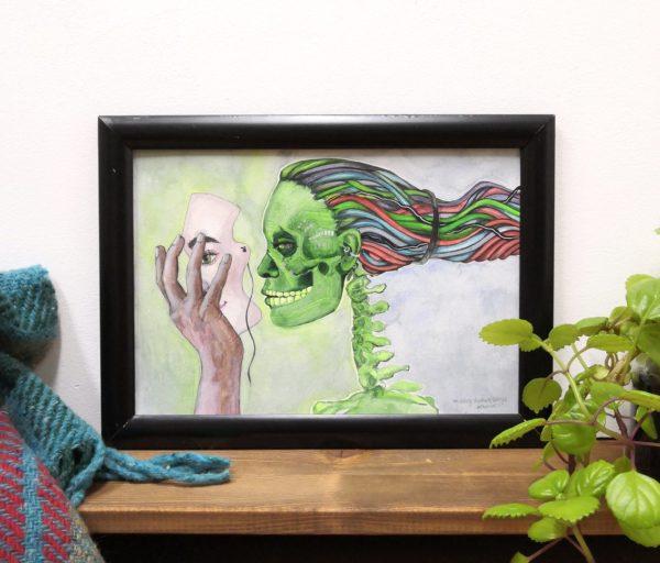Aquarellbild im Science Fiction Stil mit grünem Schädel und Haaren aus Kabeln eine Hand hält ihm eine Maske vor das Gesicht