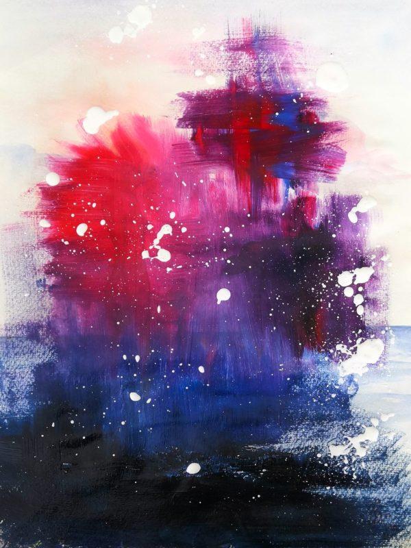 Abstrakte Acrylmalerei mit Rot Blau und Violett weiße Punkte und Spritzer