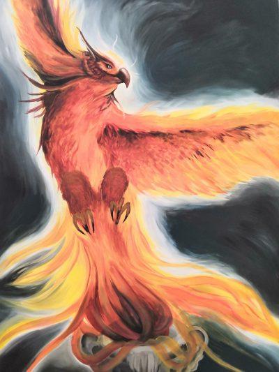 Acrylmalerei mit orangerotem Phönix der aus der Asche aufsteigtt